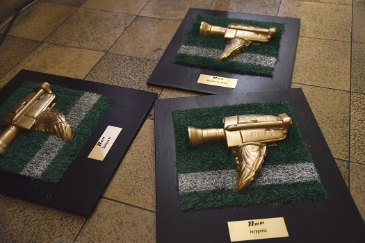 Three awards waiting for the filmmakers. (c) Judith Berganski